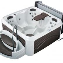 3-4View-LightsOff-TableUp-Cabana3500-WhiteDiamond-EspressoPanels-Dream-Maker-spas-loRes